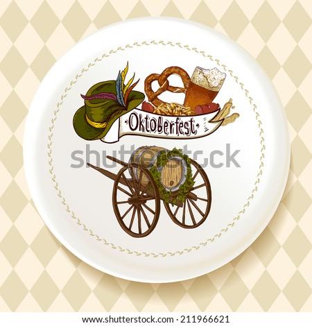 Oktoberfest Beer Set on a white plate Vector illustration - stock vector