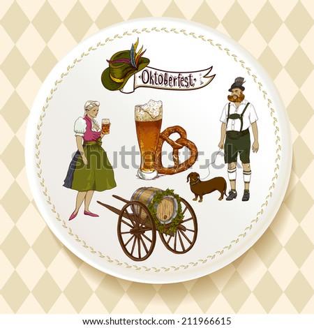 Oktoberfest Beer Set on a white plate Vector illustration Oktoberfest celebration design with Bavarian hat, beer glasses, pretzel and people in traditional costumes.  - stock vector