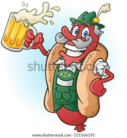 Oktoberfest Bratwurst Hotdog Cartoon Character Drinking Beer - stock vector