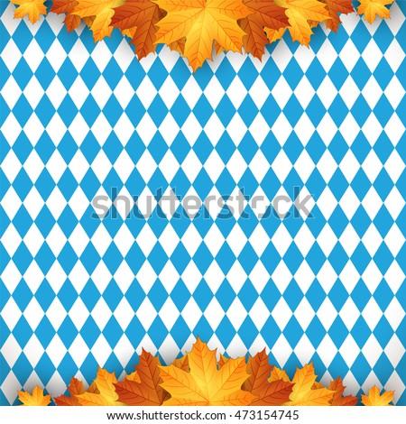 Oktoberfest design autumn. Oktoberfest blue background. Autumn background with leaves.