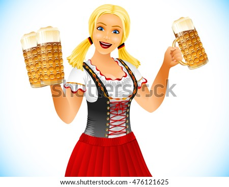 Oktoberfest Girl holds glasses of beer; Waitress in traditional German clothes; Blonde smiling; No Mesh; Vector Eps10