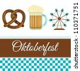 Oktoberfest greeting card in traditional style with alcoholic drink - beer, pretzel and carousel. Munich, Germany national event - stock vector