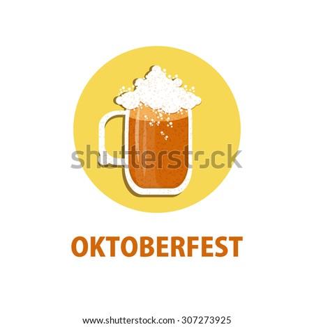 Oktoberfest icon with beer mug.Vector illustration. - stock vector