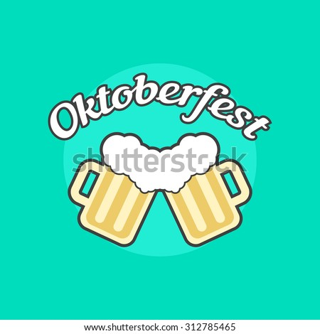 oktoberfest icon with toby jugs. concept of placard, bavaria, october fest, brewing, food celebration. isolated on green background. flat style trend modern logotype design vector illustration - stock vector