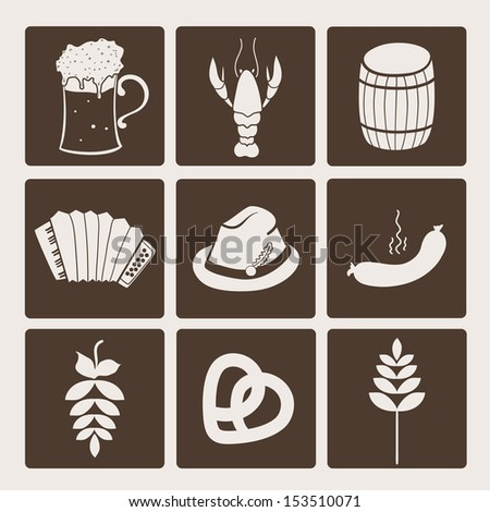 Oktoberfest icons, vector set illustration - stock vector