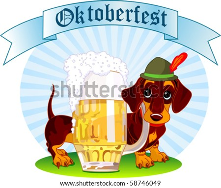 Oktoberfest Illustration of a sausage dog near  a pint of beer