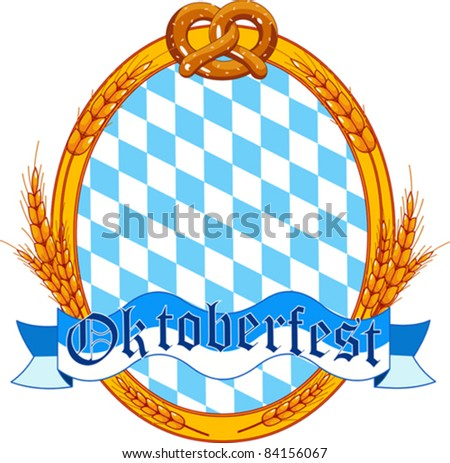 Oktoberfest  oval  label design with place for text - stock vector
