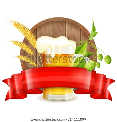 Oktoberfest Poster with Barrel, Glass of Beer, Barley, Hops and Ribbon, vector isolated on white background - stock vector