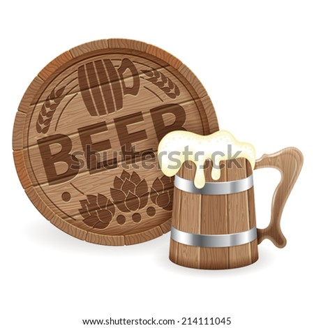 Oktoberfest Poster with Barrel of Beer and Wooden Mug, vector isolated on white background - stock vector