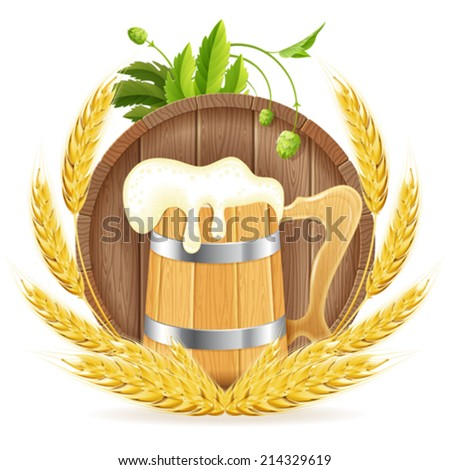 Oktoberfest Poster with Barrel of Beer, Wooden Mug, Barley and Hops, vector isolated on white background - stock vector