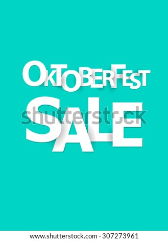 Oktoberfest sale, paper letters, origami style.Vector illustration. - stock vector