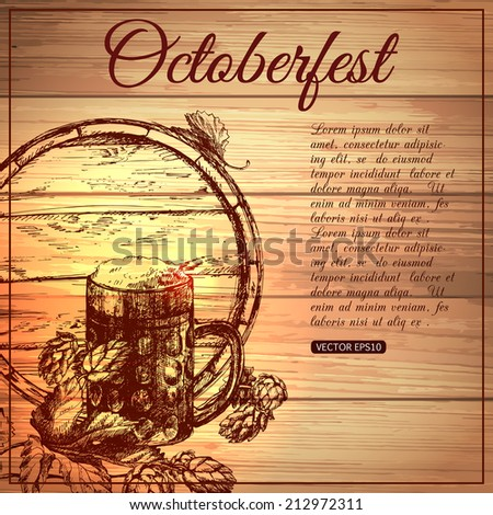 Oktoberfest typographical vintage background with hand drawn beer and hops. - stock vector