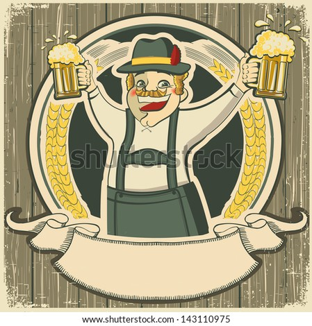 oktoberfest .Vintage label with man and glasses of beer on old background texture - stock vector
