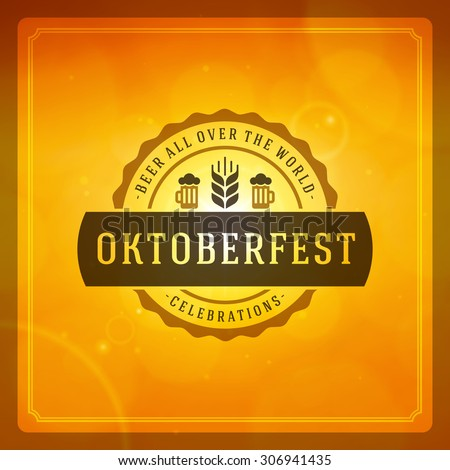 Oktoberfest vintage poster or greeting card and light background. Beer festival celebration. Vector illustration.