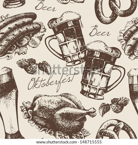 Oktoberfest vintage seamless pattern. Hand drawn illustration - stock vector