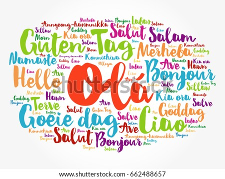 Ola hello greeting portuguese word cloud stock vector 662488657 ola hello greeting in portuguese word cloud in different languages of the world m4hsunfo