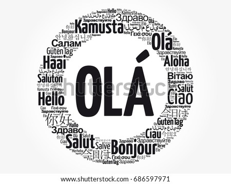 Ola hello greeting portuguese word cloud stock photo photo vector ola hello greeting in portuguese word cloud in different languages of the world m4hsunfo