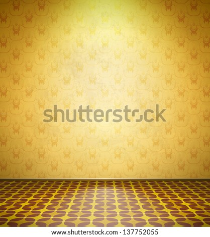 Old abandoned room with yellow wallpaper and tiled floor - stock vector
