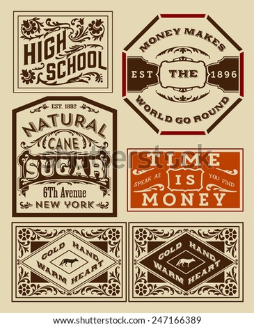 Old advertisement designs - Vintage illustration - stock vector