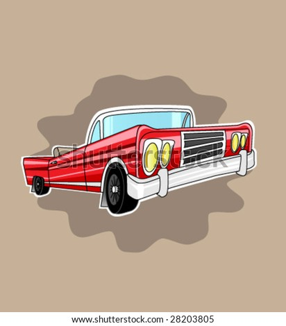 Old American Car. Vector. - stock vector