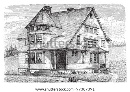 Old american house / Vintage illustration from Meyers Konversations-Lexikon 1897 - stock vector