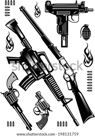 old and modern Guns - stock vector