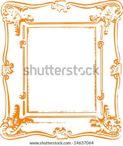 Old antique vintage vector frame. - stock vector