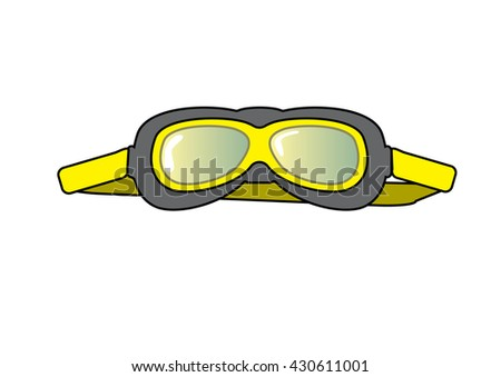 Old aviator googles for pilots during the war, old school. Hand drawn. Vector. Yellow and grey colors.  - stock vector