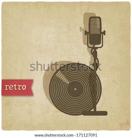 old background with microphone and record - vector illustration - stock vector