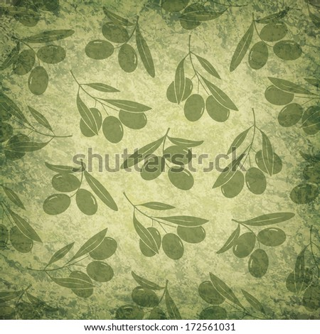 Old background with olive branches - stock vector