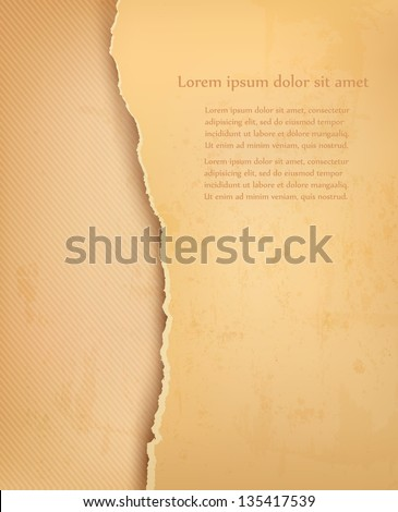 Old background with ripped old paper. Vector illustration. - stock vector