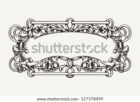 Old Banner High Ornate Background - stock vector