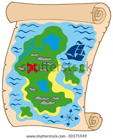 Old banner with treasure map - vector illustration.