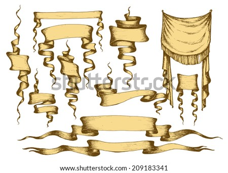 Old banners, ribbons and manuscripts set, vector illustration - stock vector