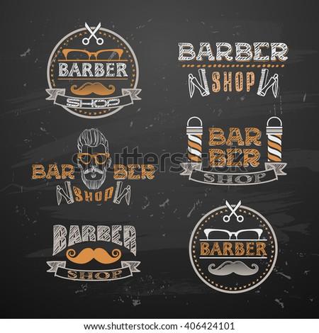 old barber pole sign. Gentleman barber shop. vintage design template. Mustaches - stock vector