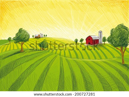 Old Barn and Field - stock vector