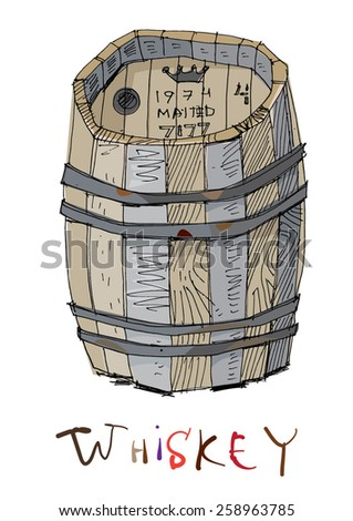 old barrel of whiskey - cartoon - stock vector