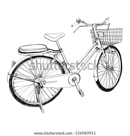 Old bicycle - sketch illustration hand drawn - stock vector