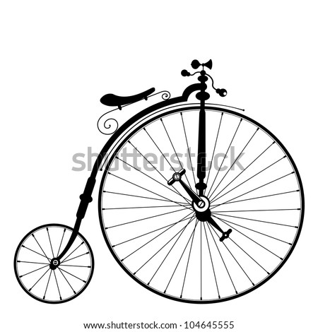 old bicycle template with clean white background - stock vector