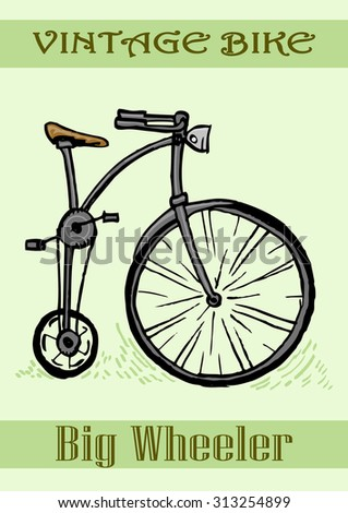 Old Bike hand draw ink on paper style - stock vector