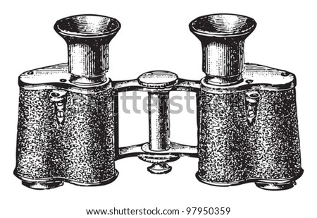 Old binoculars / vintage illustration from Meyers Konversations-Lexikon 1897 - stock vector