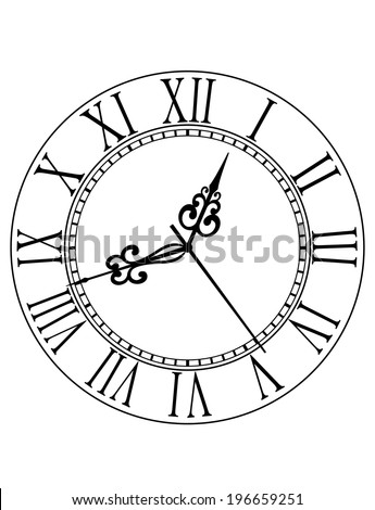 Old black and white clock face with Roman numerals and ornate vintage scrolled hands - stock vector