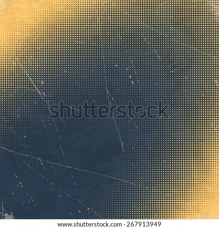 Old black scratched paper card with white halftone gradient - stock vector