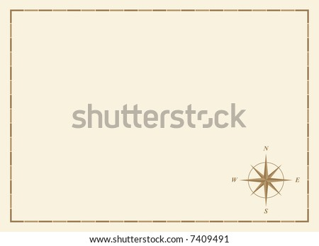 old blank map with compass rose and border - stock vector