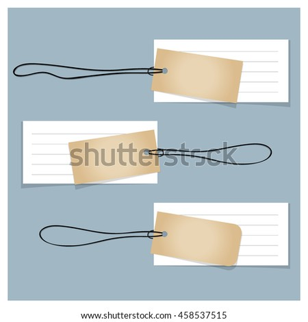 Old blank Tags. Ready for your design. Vector illustration.