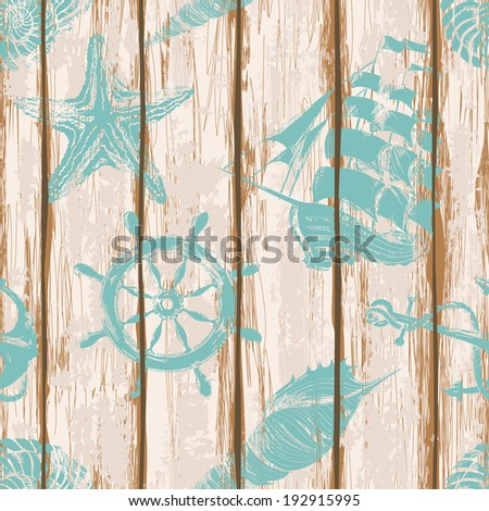Old boards of ship deck seamless pattern painted by anchor, wheel, seashell, starfish and sailboat print - stock vector