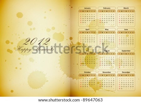 old book page with a calendar and coffee stains - happy moments diary - vector