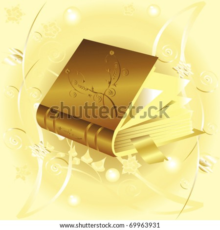 old book with bookmark over floral background - stock vector