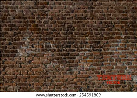Old brick wall in a background image - stock vector