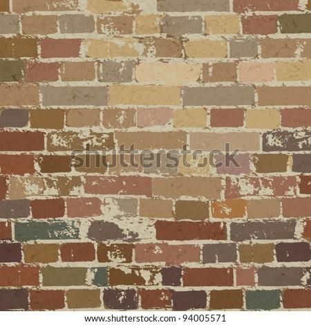 Old brick wall pattern. Vector illustration, EPS10 - stock vector
